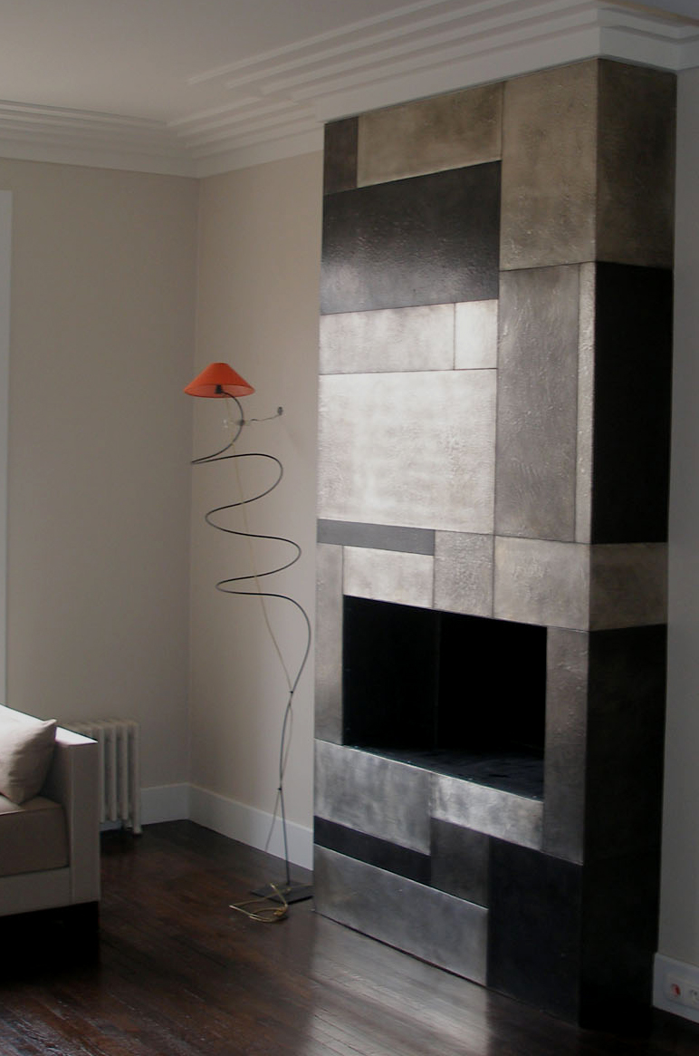 Chemin e en m tal tain d coration murale decorateur paris - Decoration peinture murale ...